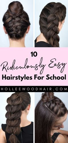10 Ridiculously Easy Hairstyles For School 2020 (Tutorials Included) Want to make the perfect first impression? Here are 10 ridiculously cute and easy hairstyles for school that will blow the others away. Cute Hairstyles For School, Easy Hairstyles For Medium Hair, Medium Hair Styles, Curly Hair Styles, Natural Hair Styles, Hairstyles For Girls Easy, Step By Step Hairstyles, Hair Medium, Everyday Hairstyles