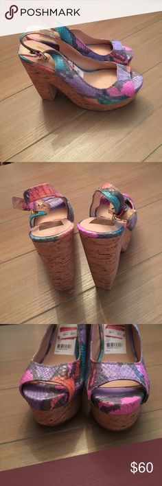 """Pastel Colored Printed Dolce Vita Platforms Pastel colored open toe Dolce Vita Slingback platforms with corked wedge like heels. Colors: pink, purple, orange, blue! Worn once. In great condition. About 5.25"""" heel. Dolce Vita Shoes Platforms"""