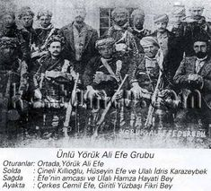 YorukAliKucukGrup - Yörük Ali Efe - Yörük Ali Efe (1895–1951) was a Turkish warlord in the Ottoman Empire, and an officer in the Turkish Army during the Turkish War of Independence. He was an important leader in Kuva-yi Milliye of the Aegean Region. After the declaration of republic he resigned from his office and worked as a farmer and industrialist. He was one of the last Zeybeks in Turkish history.