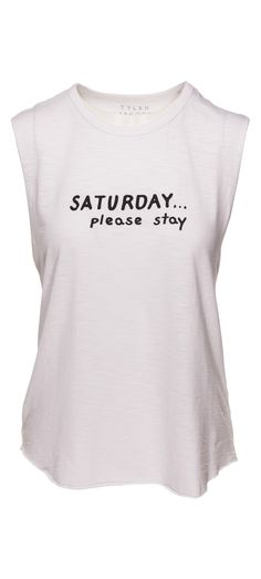 Tyler Jacobs Saturday Please Stay Cut Off Tank in White / Manage Products / Catalog / Magento Admin