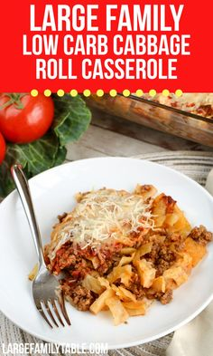 Large Family Low Carb Cabbage Roll Casserole, THM-S Dairy Free Options, Dairy Free Recipes, Low Carb Recipes, Dinner Casserole Recipes, Casserole Dishes, Dinner Recipes, Cabbage Roll Casserole, Large Family Meals, Cabbage Rolls