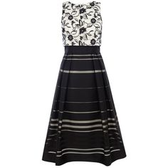 Coast Dorian Striped Skirt Dress, Multi ($210) ❤ liked on Polyvore featuring dresses, knee-length dresses, mini dress, sleeve maxi dress, flare sleeve dress and embroidered maxi dress