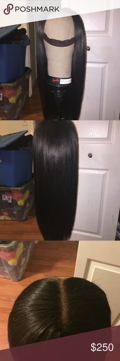 Handmade lace frontal wig HANDMADE lace frontal wig- NO TRADES AT ALL 3 bundles and a frontal of virgin Indian straight hair 18 inches  Frontal is plucked and bleached with realistic hairline  And BABY hair . Wig is very full Wig cap is adjustable will fit ANY SIZE head Comes with elastic band to ensure flatness and security on head Other