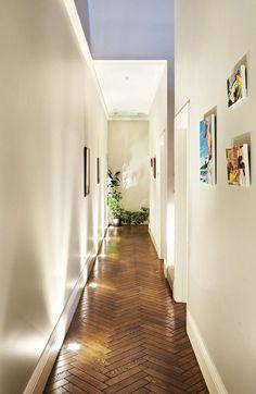 Floor #lighting and #herringbone (via Glamour Drops)   Ty Pennington's Design Notes for Bright Interior Lighting