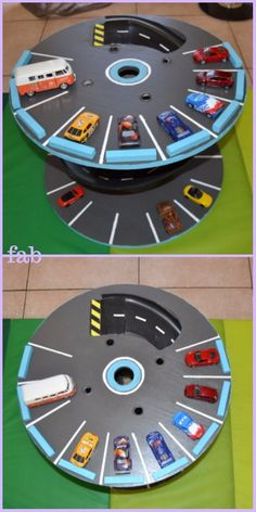 DIY Wood Cable Reel Race Car Track Tutorial is part of DIY Kids Crafts Wood - DIY Wood Cable Reel Race Car Track Tutorial make car track out of wood spool or cable reel for kids, sliding down car track Wooden Spool Projects, Wood Spool, Diy Projects, Race Car Track, Race Cars, Cable Reel Ideas For Kids, Car Tracks For Kids, Cable Spool Tables, Diy Holz