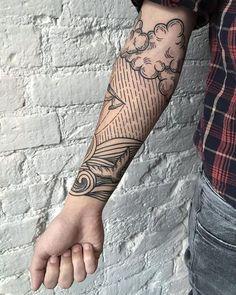 40 No-Ordinary Linie Tattoo Designs - Samuel Colt - Line Tattoos, Arm Tattoos, Arm Band Tattoo, Tribal Tattoos, Sleeve Tattoos, Tattoos For Guys, Cool Tattoos, Tumblr Hipster, Negative Space Tattoo