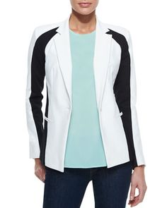 Colorblock One-Button Jacket & Sleeveless Stretch-Silk Tank by DKNY at Neiman Marcus.