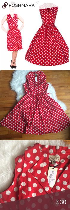 🐞 BNWT Matilda Dress by Lindy Bop I bought this not too long ago, but it unfortunately doesnt fit my bust (for reference I am between a 6-8, and generally fit into M on similar brands like Pinup Girl). UK size 10, US size 6. Perfect for a Minnie Mouse Disneybound. 100% cotton, matching belt included, bust is lined. LB recommends a 26 inch petticoat for this dress. Brand new with tags and extra button, adorable polka dots! #retro #pinup #modernvintage ModCloth Dresses