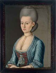 Central European School, 18th Century  Portrait of a lady, half length, wearing a blue dress