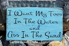 """Beach Decor - I Want My Toes In The Water Beach Sign - 18x12"""" Coastal Nautical Plaque"""
