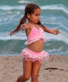 Mia Belle Baby Pink Lace Ruffle Skirted Bikini - Toddler & Girls | zulily