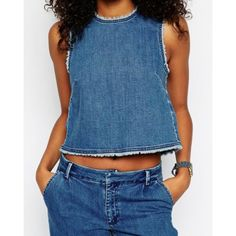 $9.95 Stylish Round Collar Sleeveless Button Design Denim Women's Tank Top