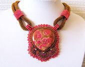 Sweet Temptation - Bead Embroidery Necklace with Peachblow New Ghost's Eye Jasper - red - brown