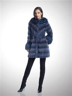 Dyed Denim Blue Cross Mink Fur Coat with Fox Trim #stylish #coat #fur #outwear at Flemington Furs - available online at FlemingtonFurs.com