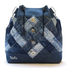 Nielia - bags from jeans \/ Bags, clutches, suitcases \/ Second Street Denim Backpack, Denim Tote Bags, Denim Handbags, Denim Purse, Purses And Handbags, Patchwork Bags, Quilted Bag, Recycled Denim, Handmade Bags