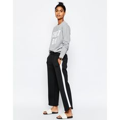ASOS Luxe Contrast Side Stripe Jogger (2.970 RUB) ❤ liked on Polyvore featuring activewear, activewear pants, black, asos and tall activewear