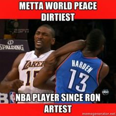 ac826c2106a2 MWP elbowed James Harden and knocked him down in the game Thunders   Lakers  NBA game. World Peace were ejected with flagrant foul. Metta World Peace