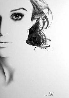 Keira Knightley Minimalism Pencil Drawing Portrait Glamour Beauty Fine Art PRINT Signed by Artist