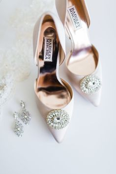 Some may say that what we do on Style Me Pretty - obsess over flowers and gowns and pretty things - is insignificant. Badgley Mischka Bridal, Badgley Mischka Shoes, Best Bridal Shoes, Bridal Heels, White Wedding Shoes, Sophisticated Bride, Bride Shoes, Types Of Shoes, Shoe Collection
