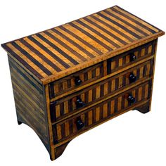 victorian rosewood & birdseye maple miniature chest - england - c1850