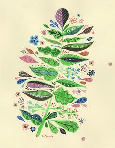 green plant illustration by Samantha Lewis #art