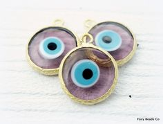 Translucent Purple Glass Evil Eye Pendant Disc Pendants, 24K Gold Plated Evil Eye for Jewelry Making, Wholesale Turkish Supplies -EE072-F
