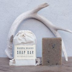 Get rustic with a Campfire Soap -- made with olive, palm, coconut, castor oils, shea butter, powdered rosemary, lapsang souchong tea, and essential oils of vetiver, fir needle, cypress, juniper berries. Woodsy, smoky, and our most popular scent. Made in Marfa, TX