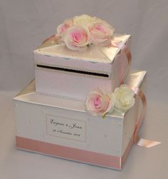 Blush Pink and Ivory Lace Wedding Card Box-Blush and Ivory Roses-Pearl accents