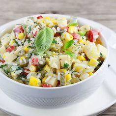 Sałatka z ryżem i ananasem. Salad with rice and pineapple. Fruit Salad, Cobb Salad, Pasta Salad, Quinoa, Potato Salad, Enchiladas, Pineapple, Food And Drink, Sweets
