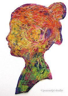 Profiles I: Stitched Silhouette Thread Art | peaceofpi studio