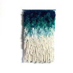 MADE TO ORDER  Woven wall hanging / Furry mint dreams por jujujust