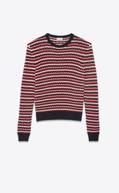 cbb14f02f8ec3 SAINT LAURENT Knitwear Tops Woman Striped sweater in a black, red and off- white crocheted knit a_V4