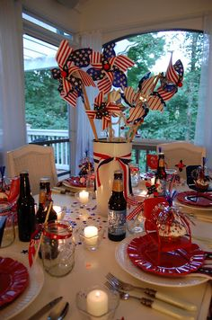 4th of July centerpies - then hand over the pinkwheels to the grandkids