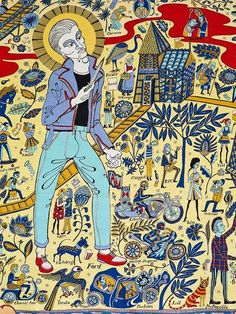 Turner Prize–winning British artist Grayson Perry's traditional textiles comment on modern society. Perry's Walthamstow Tapestry of 2009 Grayson Perry Tapestry, Grayson Perry Art, A Level Art, China Art, Fabric Painting, Textile Art, Fiber Art, Art History, Contemporary Art