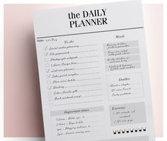 Daily Planner Page - Minimal Black and White Kikki K and Filofax Inserts