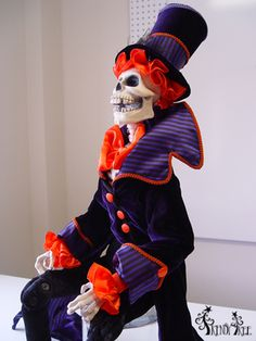 "35"" Skeleton in Top Hat Halloween Decoration"