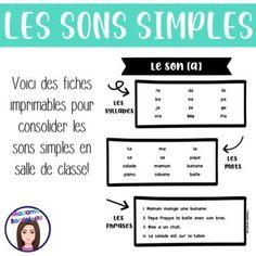 Ce cahier est pratique pour les élèves ayant de la difficulté à maîtriser les sons français ou en début de l'apprentissage du français. Les 18 sons à l'étude: a, b, d, e, é, f, i, j, l, m, n, o, p, r, s, t, u, vPour chaque son, il y a deux pages d'activités. Les tâches sont les suivantes: Lire des s... Simple, Classroom, Notebook, Learning, Custom In, Words, Reading