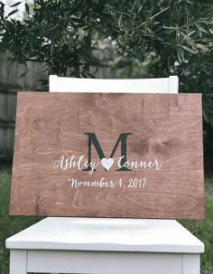 """Hold onto a piece of your wedding with this rustic wood wedding guest book alternative. This is a great alternative for a standard guest book. Guests can easily sign using Sharpies (metallics are especially beautiful). Approx Size: Small 16""""H by 24W Please include the following"""