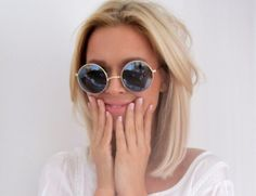 Loving the round sunnies and the blonde bob