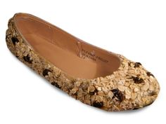 Oatmeal Raisin Ballet Flats Statement Wearable Food Art. $124.00, via Etsy.    This is what happens when you shoe-browse on Etsy.