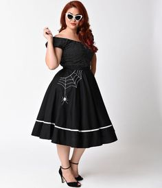 4dbf2b1587c Plus Size Miss Muffet Spiderweb Swing Skirt by Hell Bunny - black