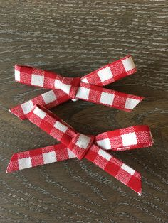 Red Gingham Pigtail Bow Set