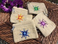 Sun Symbol Hemp Coin Bags by OpalMoonTreasures on Etsy