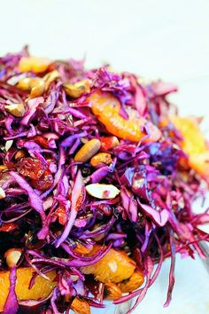 Great winter salad with red cabbage, almonds and oranges. Light and crunchy and filled with vitamins.