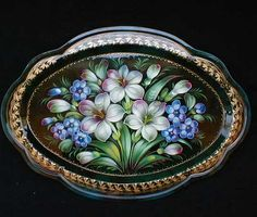 Russian Handpainted tray. Reminds me of my barrettes like this.   I love these