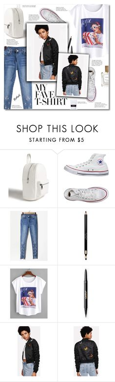 """""""Romwe 9"""" by smajlovicelvira ❤ liked on Polyvore featuring Forever 21, Converse, Clarins, The Perfumer's Story by Azzi and MyFaveTshirt"""