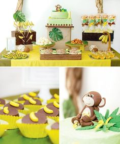 monkey-birthday-party-dessert-table