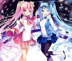 Kết quả hình ảnh cho sakura miku and snow miku