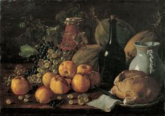 Luis Meléndez - Still Life with Apples, Grapes, Melons, Bread, Jug and Bottle - Google Art Project - Still life - Wikipedia, the free encyclopedia