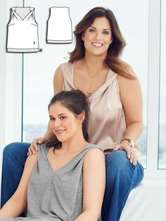 This is my favorite pattern! Women's plus size V-neck blouse sewing pattern available for download. Available in various sizes and is produced by BurdaStyle Magazine.  This is both proper and stunning. The powder colored outer layer is lined with a longer inner layer in blue. Draping the straps at the shoulder exposes the peek of extra color. afflink